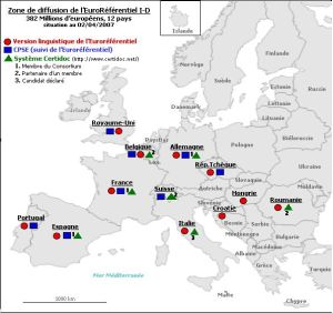 Zones de diffusion de l'Euroréférentiel des compétences de l'Information-Documentation